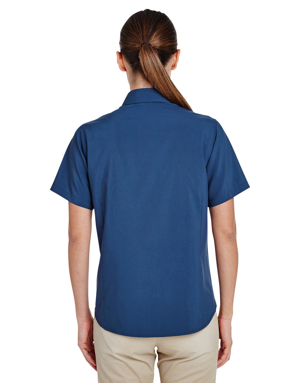 Pool Blue, Back - M610SW Harriton Paradise Short-Sleeve Performance Shirt | BlankClothing.ca