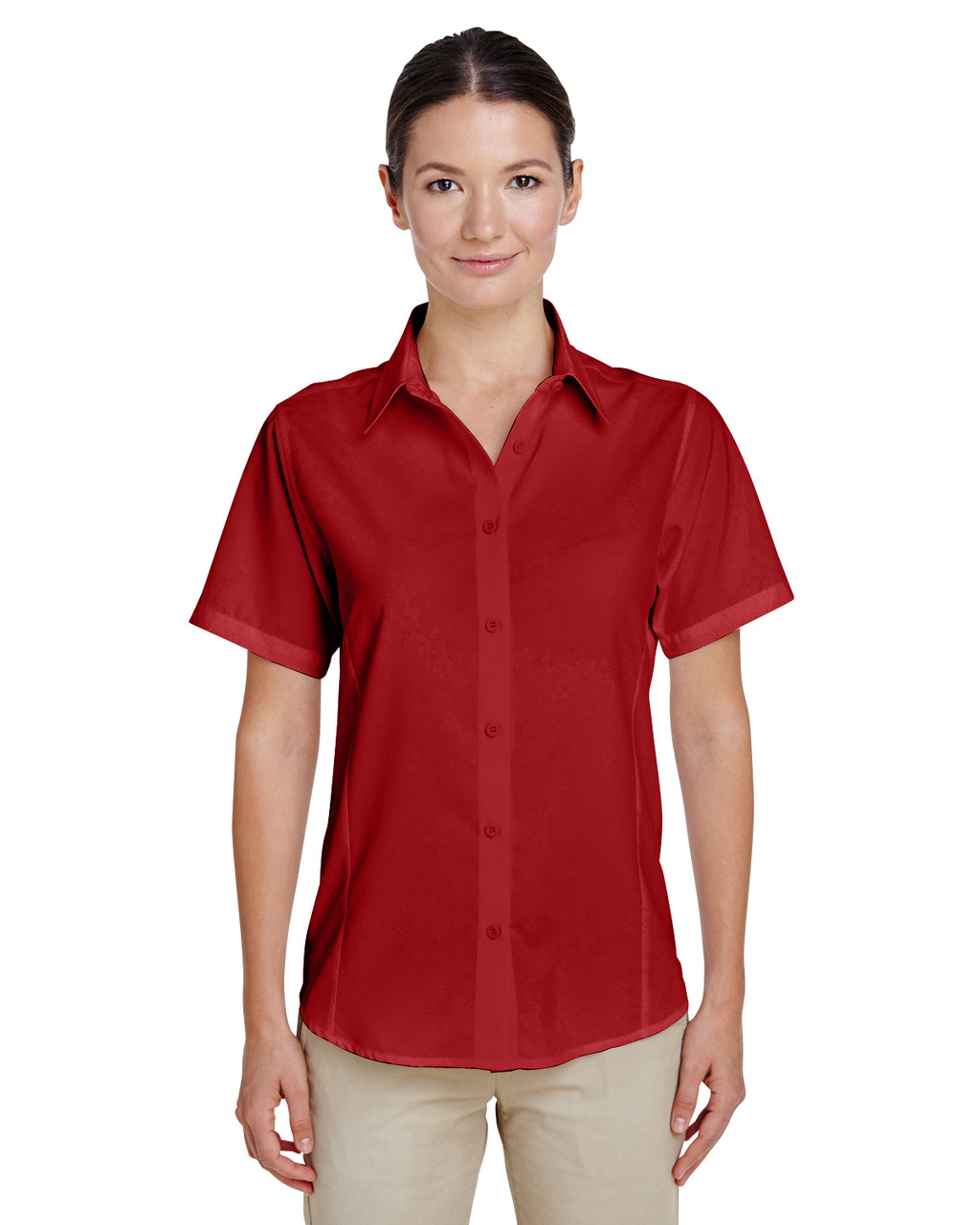 Parrot Red - M610SW Harriton Paradise Short-Sleeve Performance Shirt | BlankClothing.ca