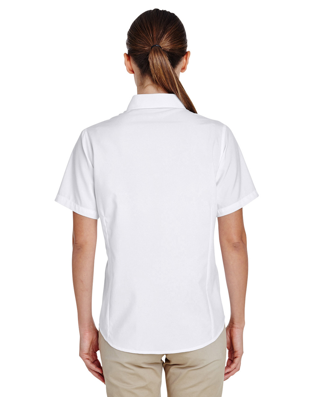 White, Back - M610SW Harriton Paradise Short-Sleeve Performance Shirt | BlankClothing.ca