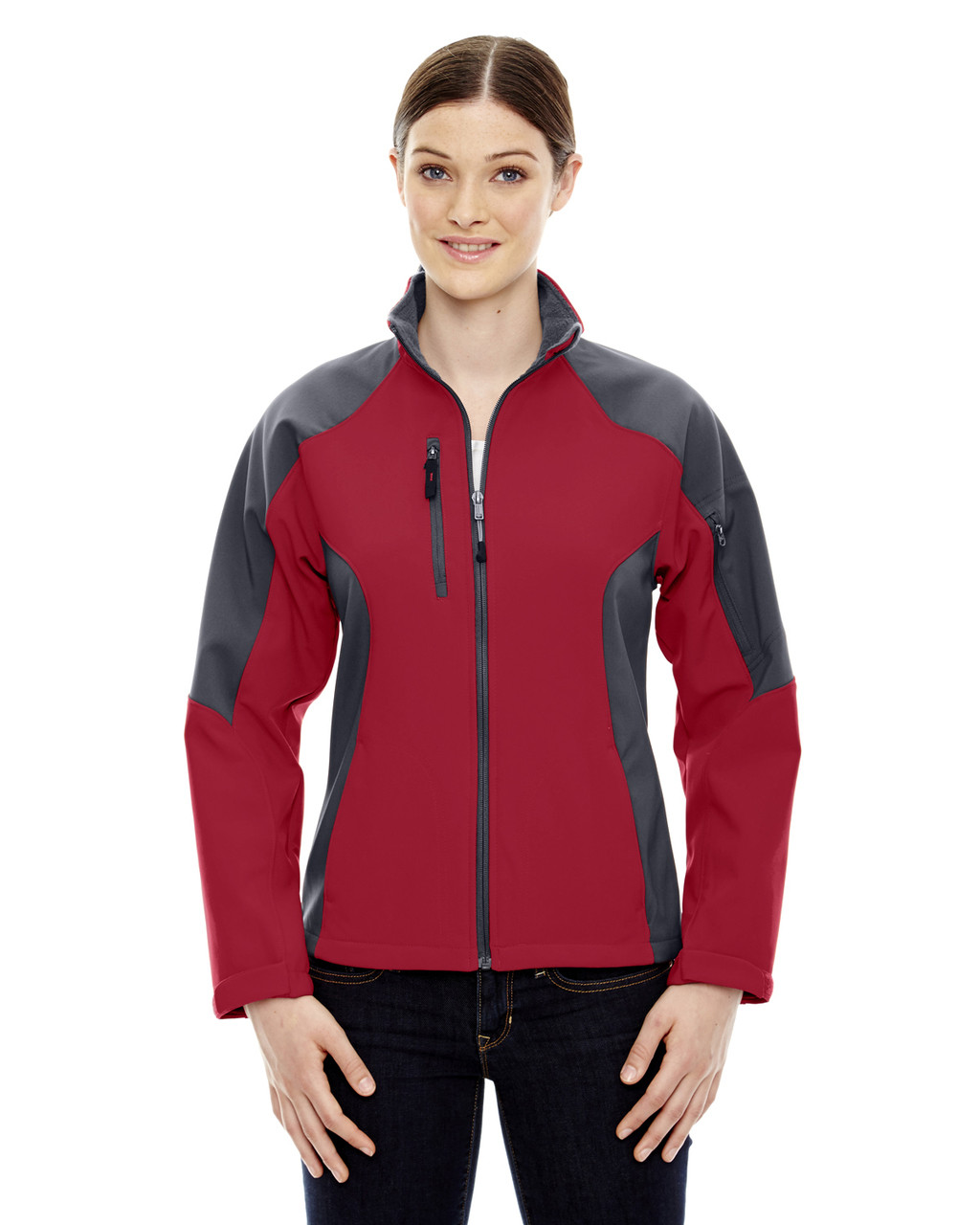 Molten Red - 78077 North End Ladies' Colour-Block Soft Shell Jacket   Blankclothing.ca