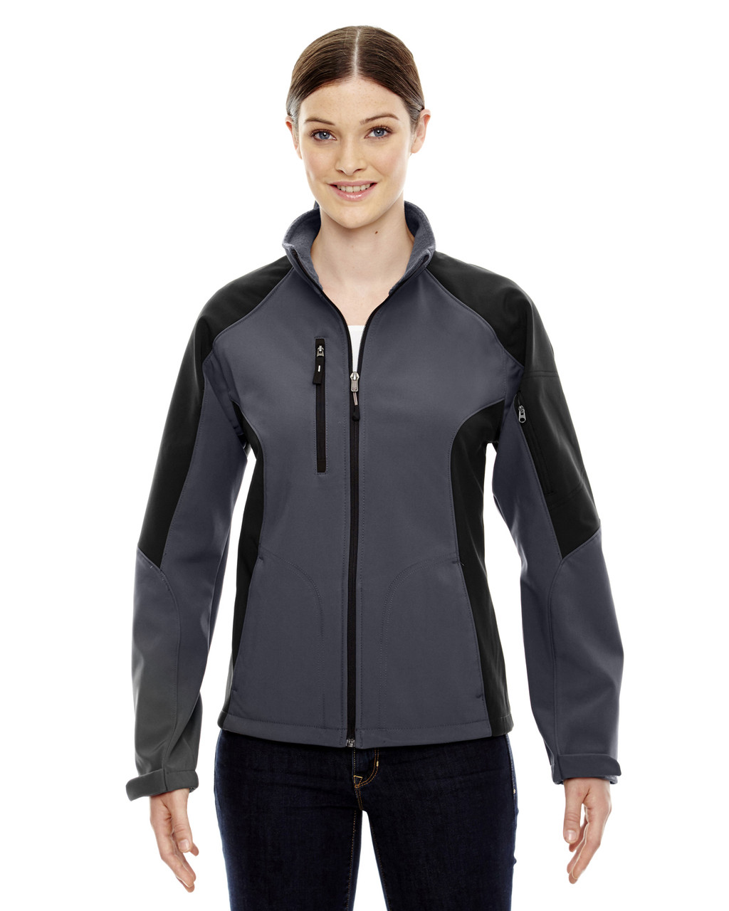 Fossil Grey - 78077 North End Ladies' Colour-Block Soft Shell Jacket   Blankclothing.ca