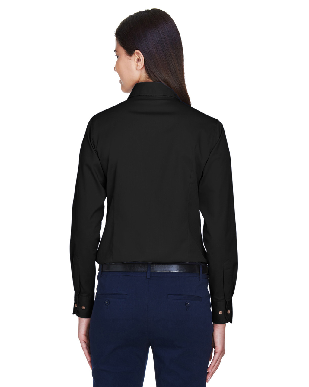 Black - Back, M500W Harriton Easy Blend Long-Sleeve Twill Shirt with Stain-Release | BlankClothing.ca