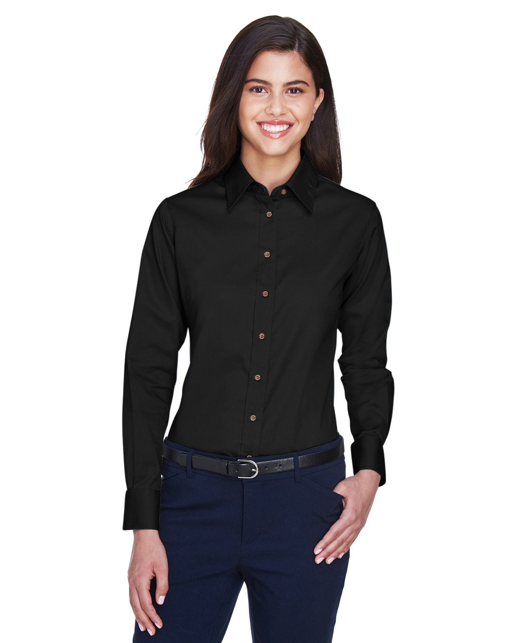 Black - M500W Harriton Easy Blend Long-Sleeve Twill Shirt with Stain-Release | BlankClothing.ca