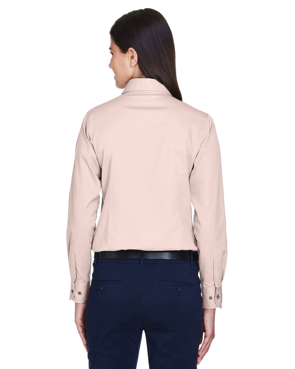 Blush - Back, M500W Harriton Easy Blend Long-Sleeve Twill Shirt with Stain-Release | BlankClothing.ca