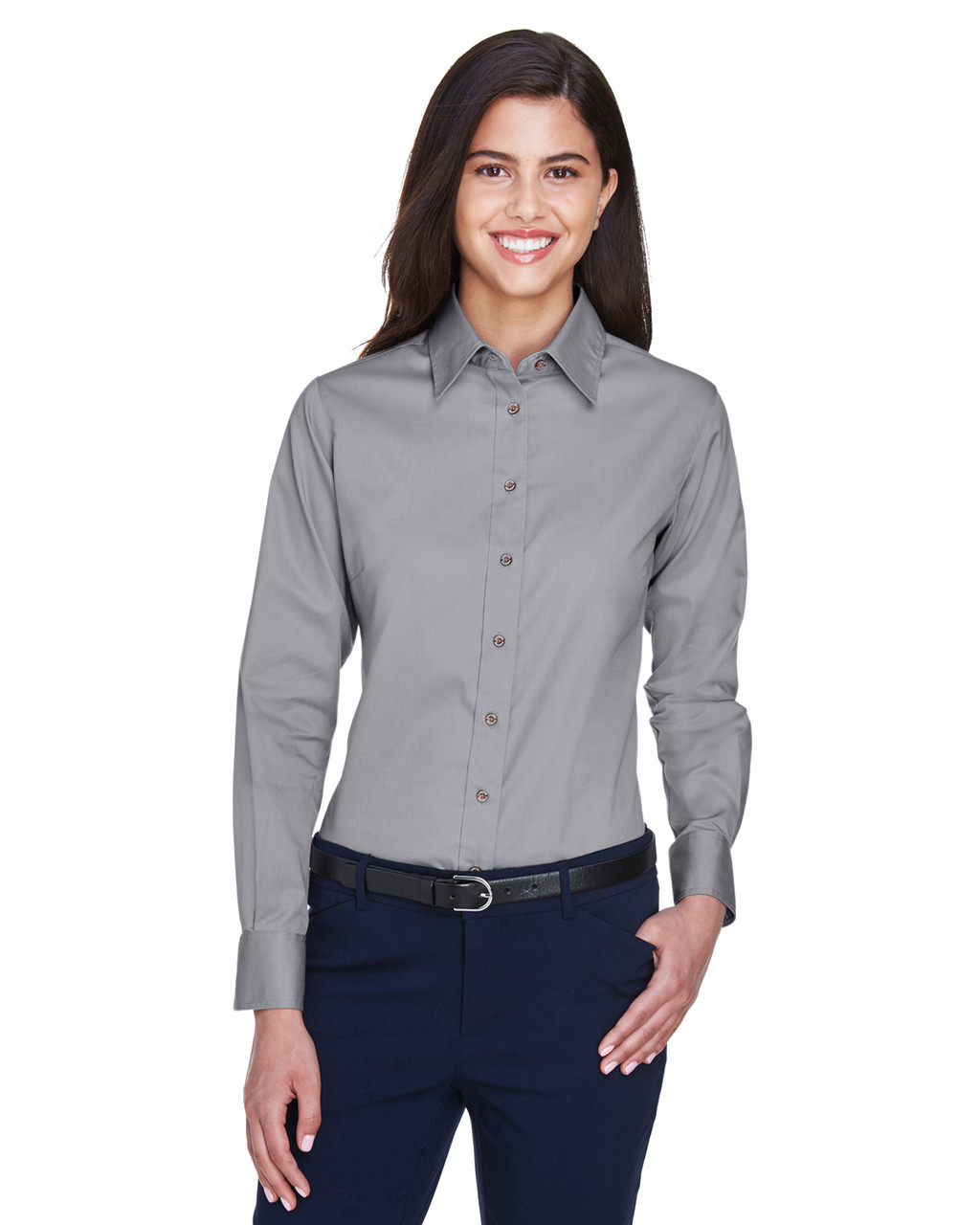 Dark Grey - M500W Harriton Easy Blend Long-Sleeve Twill Shirt with Stain-Release | BlankClothing.ca
