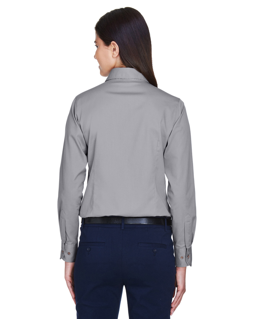 Dark Grey - Back, M500W Harriton Easy Blend Long-Sleeve Twill Shirt with Stain-Release | BlankClothing.ca