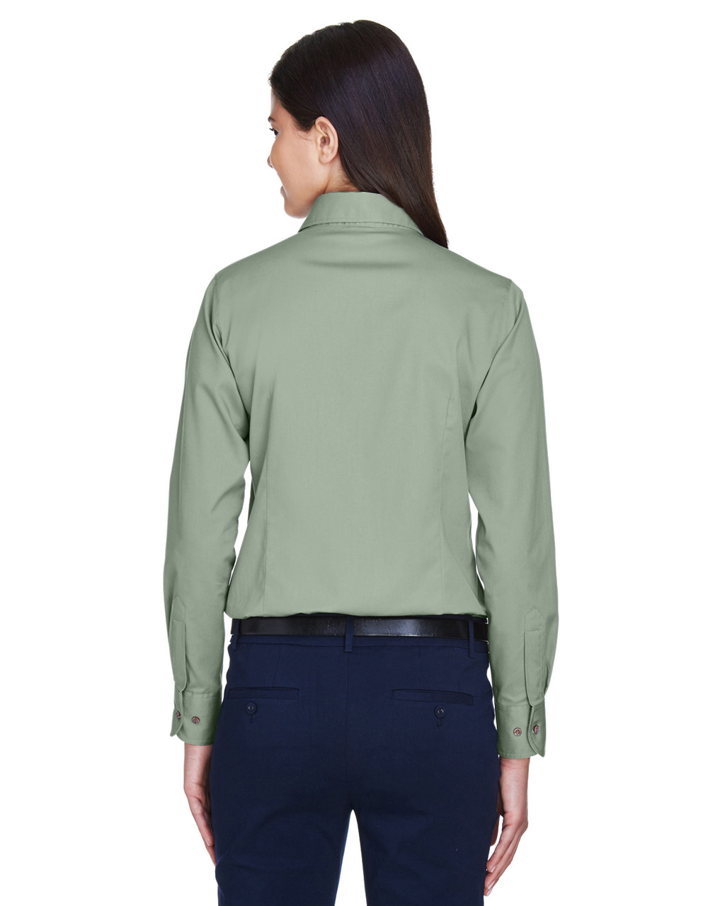Dill - Back, M500W Harriton Easy Blend Long-Sleeve Twill Shirt with Stain-Release | BlankClothing.ca