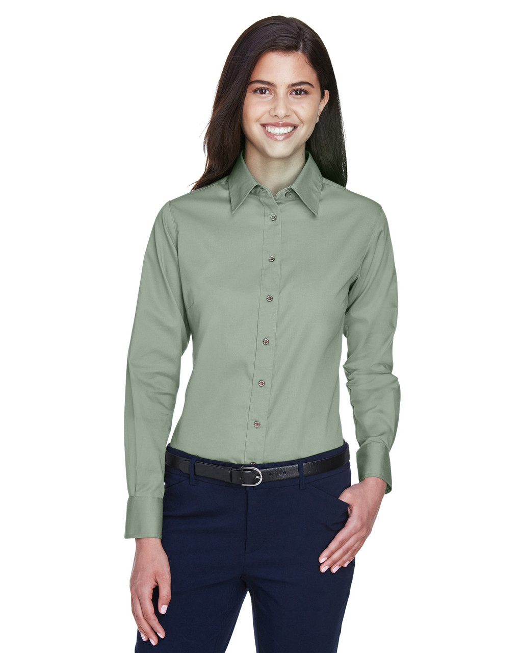 Dill - M500W Harriton Easy Blend Long-Sleeve Twill Shirt with Stain-Release | BlankClothing.ca