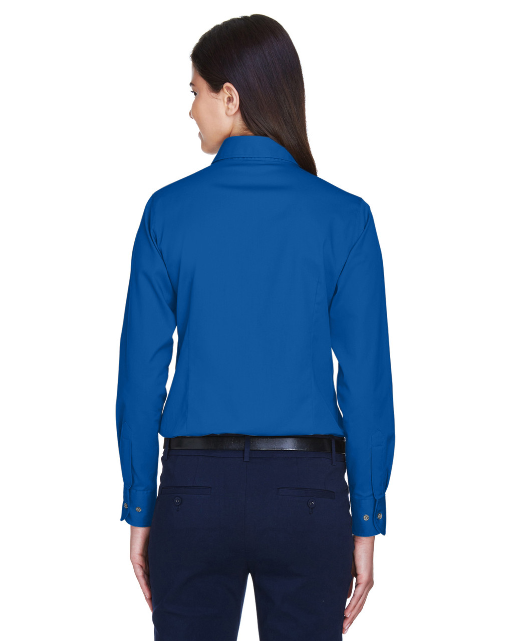 French Blue - Back, M500W Harriton Easy Blend Long-Sleeve Twill Shirt with Stain-Release | BlankClothing.ca