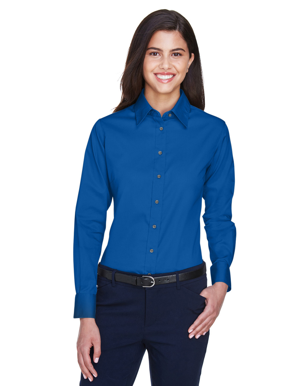 French Blue - M500W Harriton Easy Blend Long-Sleeve Twill Shirt with Stain-Release | BlankClothing.ca