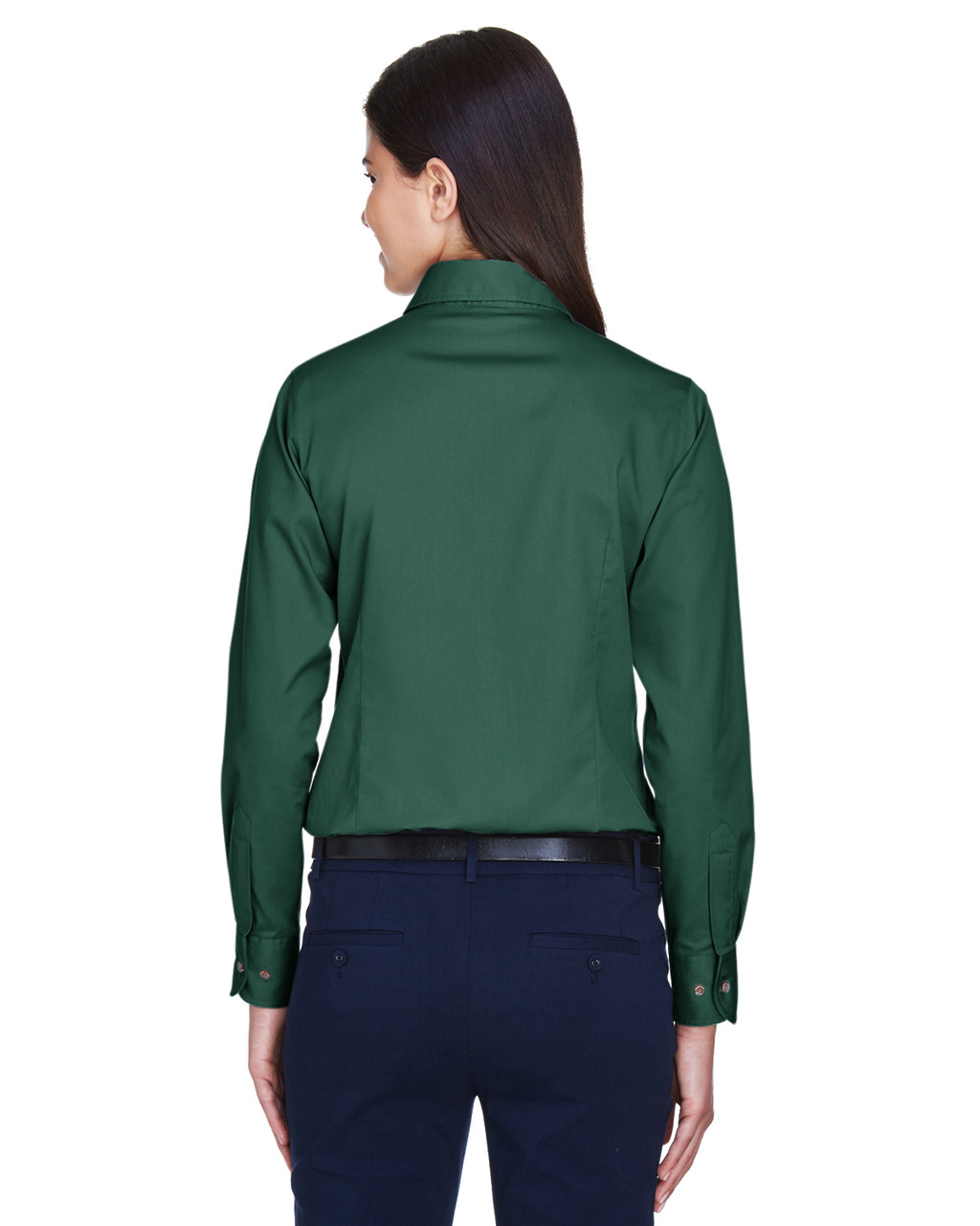 Hunter - Back, M500W Harriton Easy Blend Long-Sleeve Twill Shirt with Stain-Release | BlankClothing.ca
