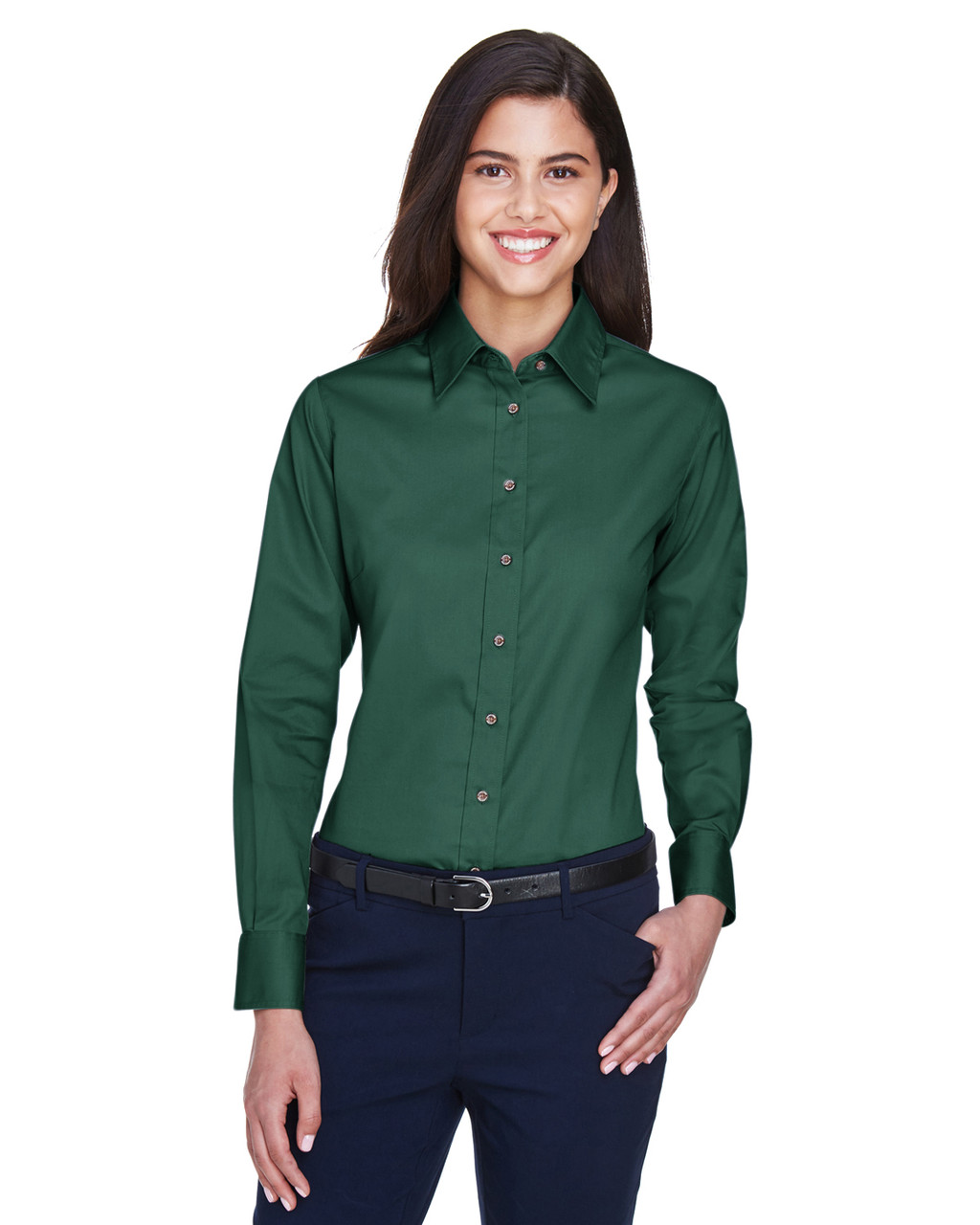 Hunter - M500W Harriton Easy Blend Long-Sleeve Twill Shirt with Stain-Release | BlankClothing.ca