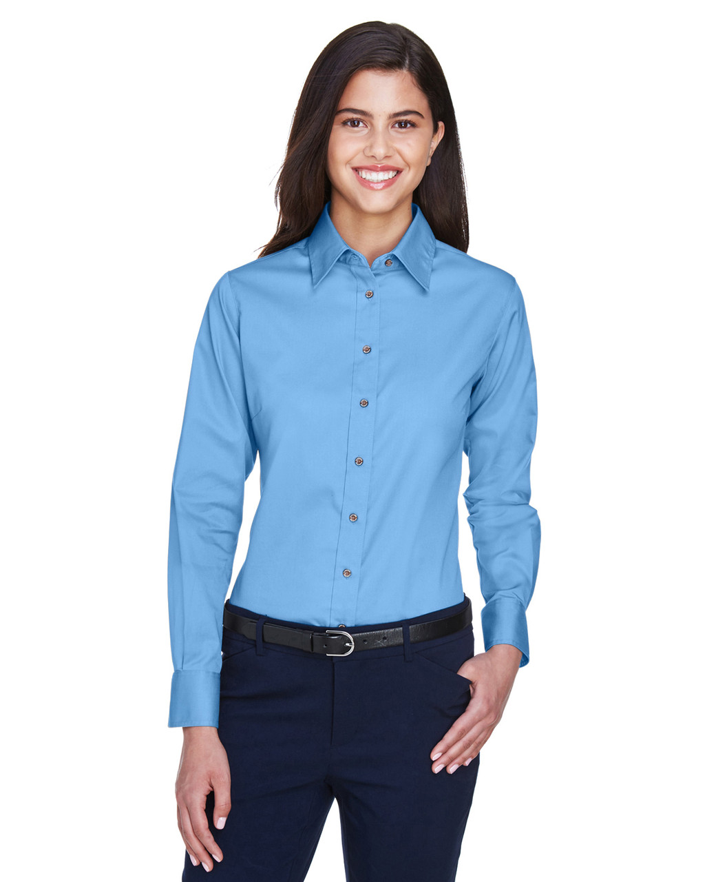 Light College Blue - M500W Harriton Easy Blend Long-Sleeve Twill Shirt with Stain-Release | BlankClothing.ca