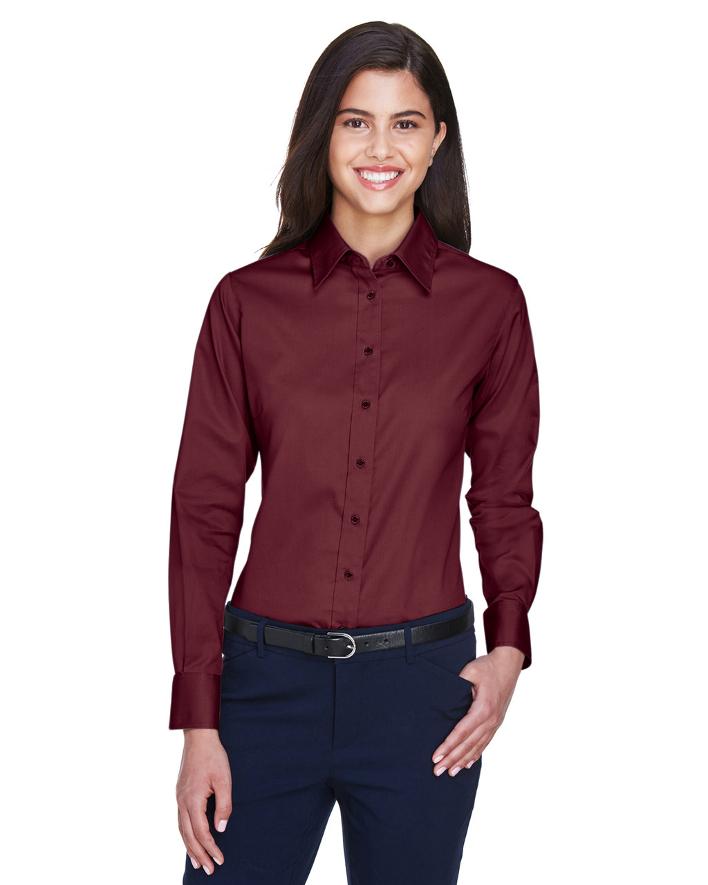 Wine - M500W Harriton Easy Blend Long-Sleeve Twill Shirt with Stain-Release | BlankClothing.ca