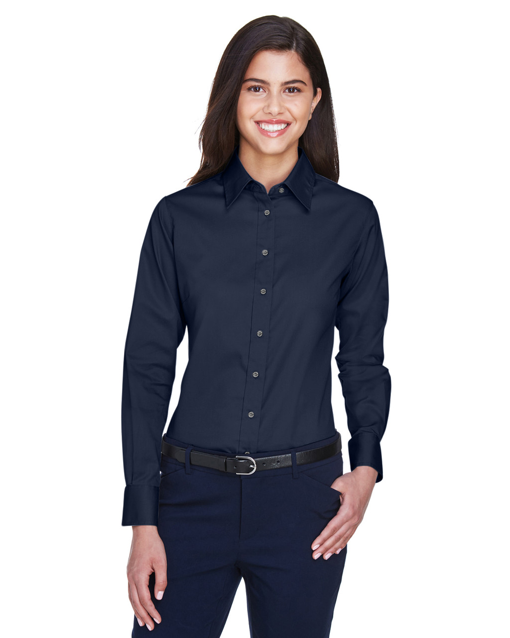 Navy - M500W Harriton Easy Blend Long-Sleeve Twill Shirt with Stain-Release | BlankClothing.ca
