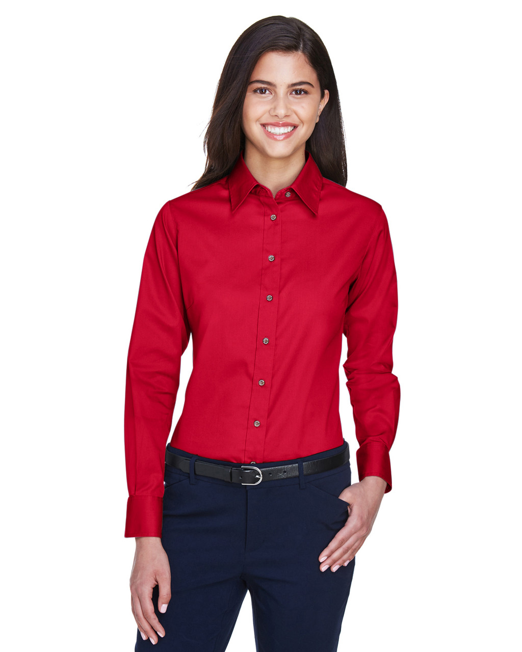 Red - M500W Harriton Easy Blend Long-Sleeve Twill Shirt with Stain-Release | BlankClothing.ca