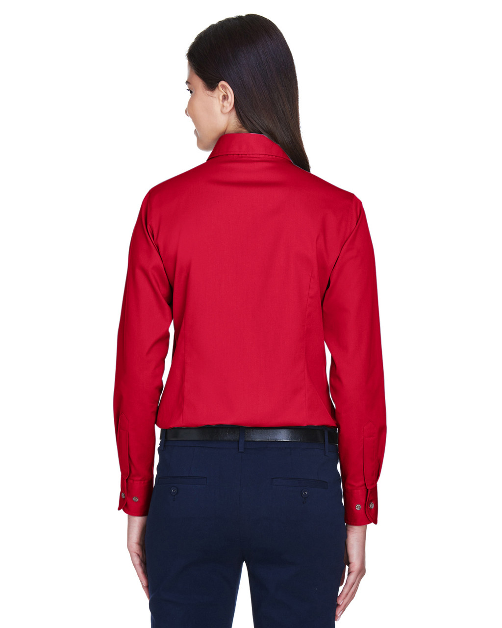 Red - Back, M500W Harriton Easy Blend Long-Sleeve Twill Shirt with Stain-Release | BlankClothing.ca