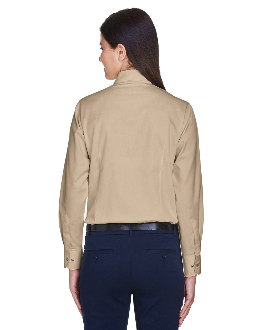 Stone - Back, M500W Harriton Easy Blend Long-Sleeve Twill Shirt with Stain-Release | BlankClothing.ca
