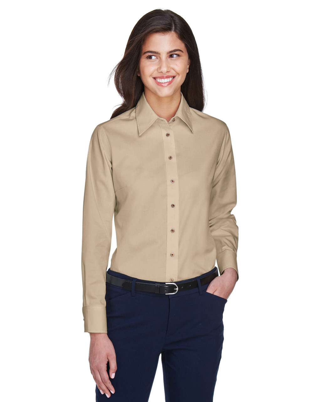 Stone - M500W Harriton Easy Blend Long-Sleeve Twill Shirt with Stain-Release | BlankClothing.ca