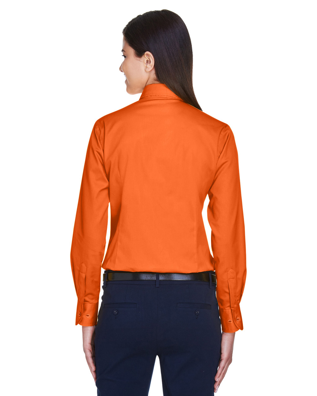 Team Orange - Back, M500W Harriton Easy Blend Long-Sleeve Twill Shirt with Stain-Release | BlankClothing.ca