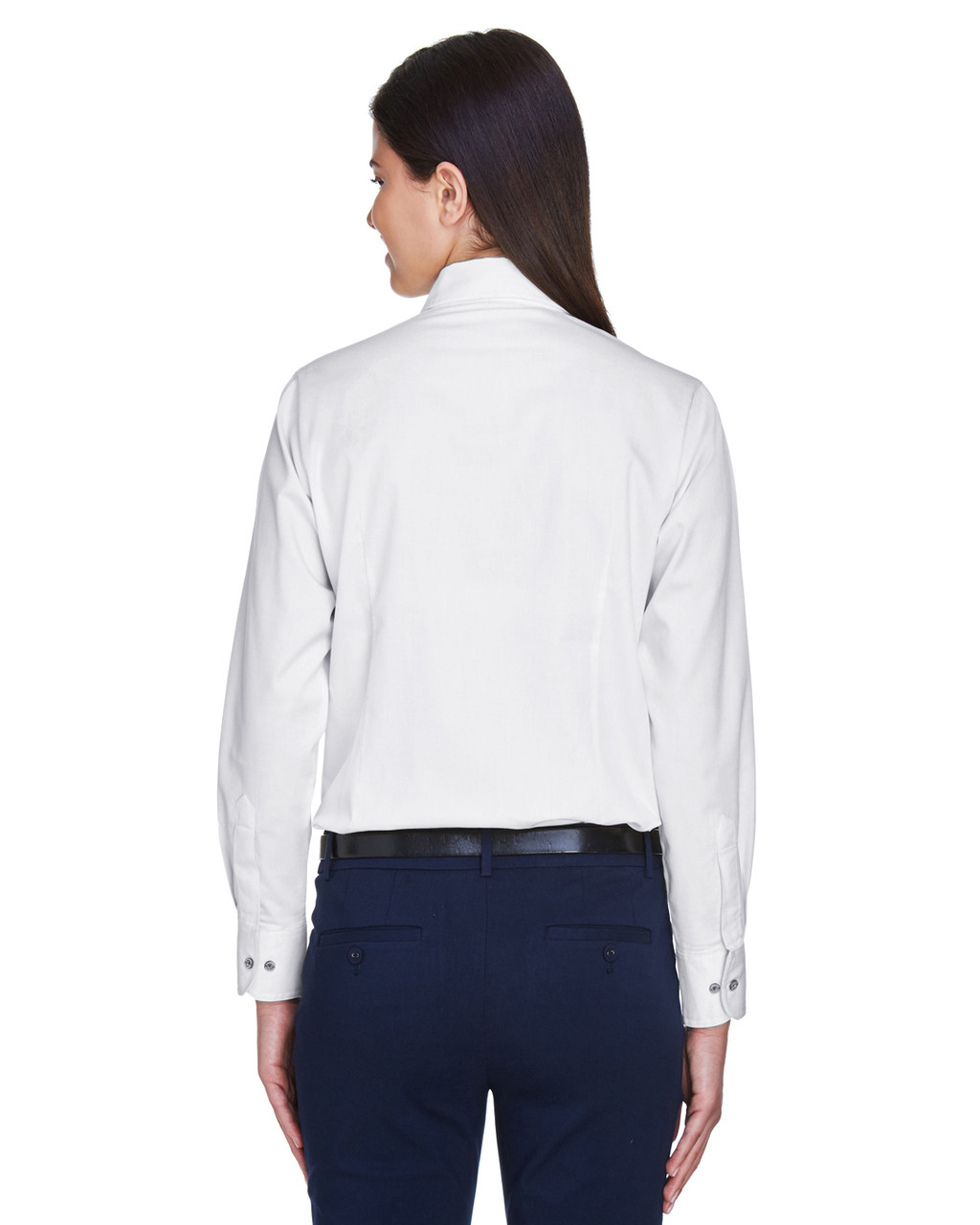 White - Back, M500W Harriton Easy Blend Long-Sleeve Twill Shirt with Stain-Release | BlankClothing.ca