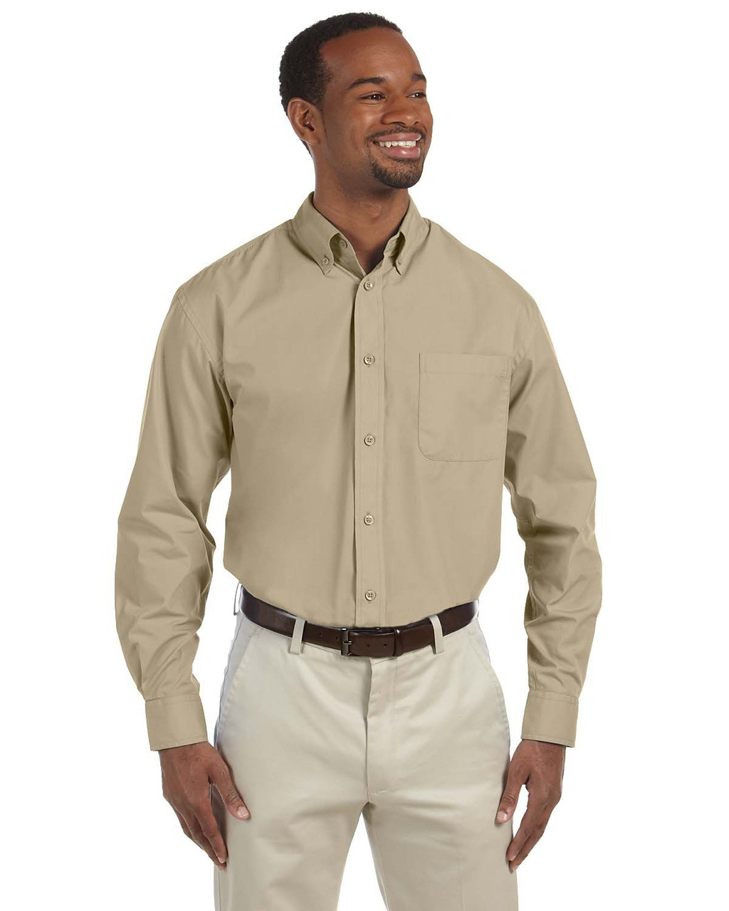Stone - M510T Harriton Tall Essential Poplin Shirt