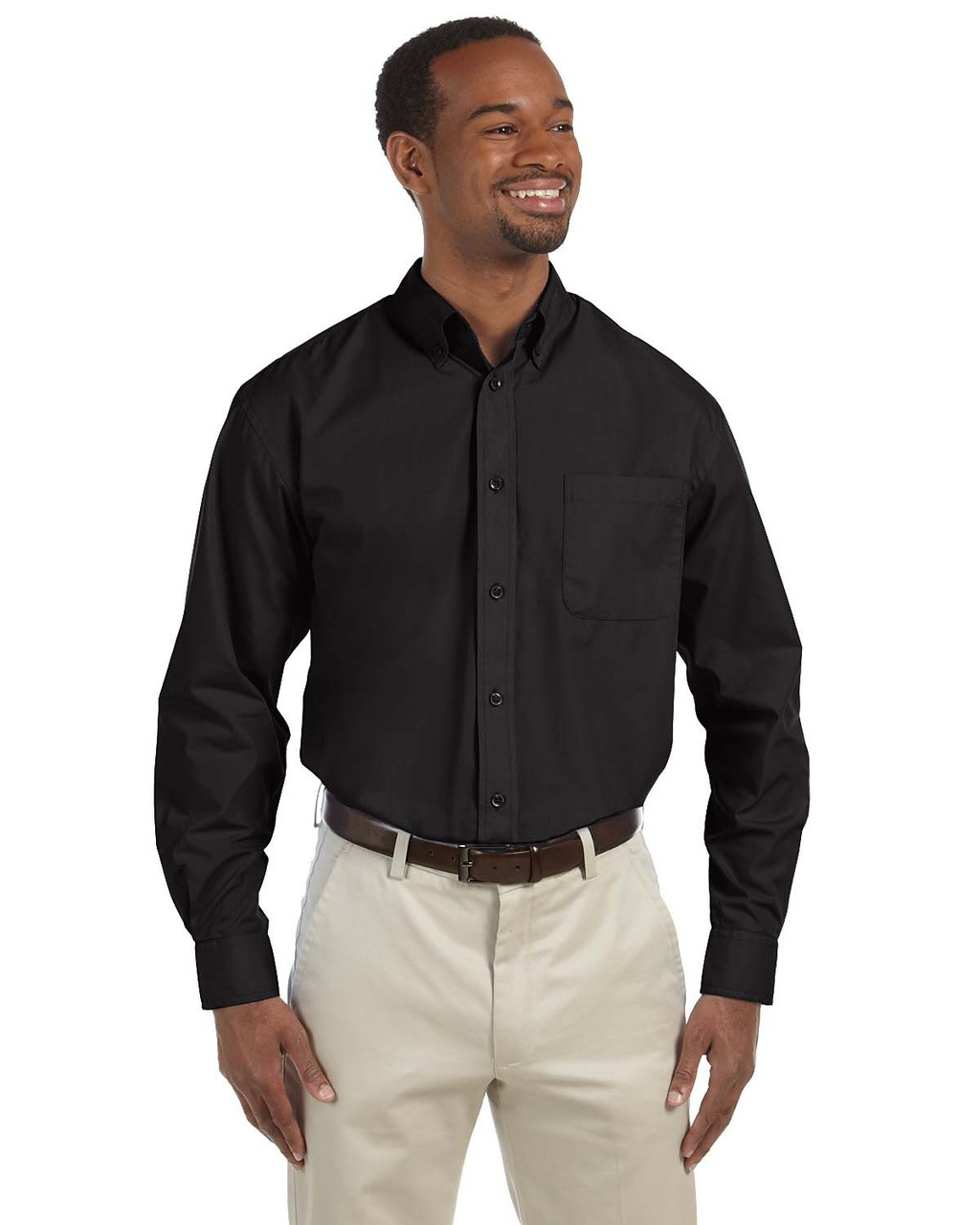 Black - M510T Harriton Tall Essential Poplin Shirt