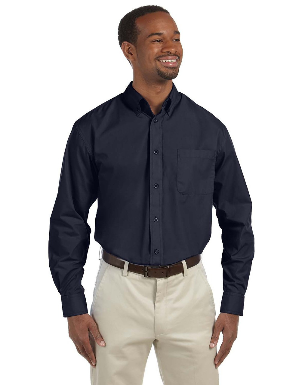 Navy - M510T Harriton Tall Essential Poplin Shirt
