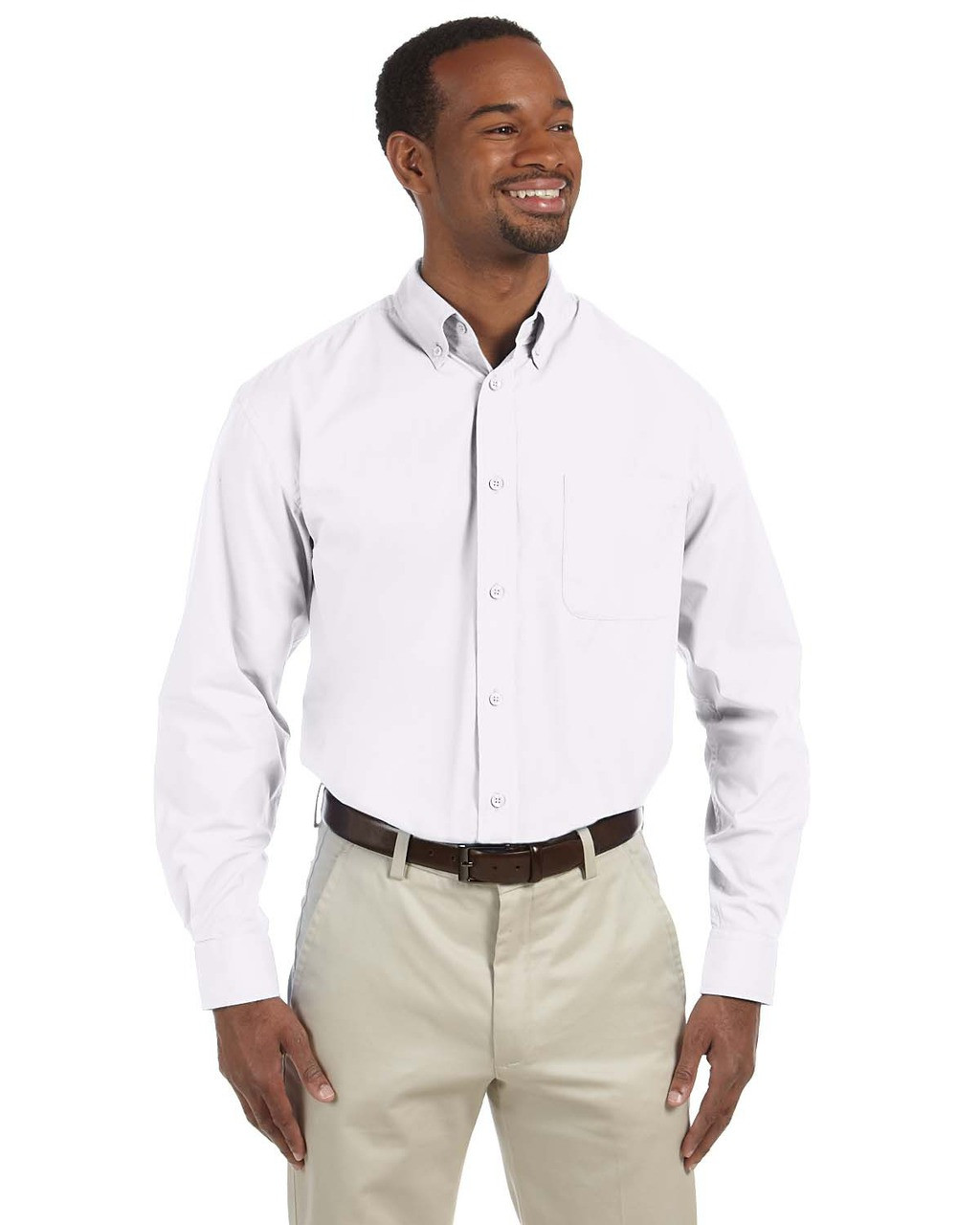 White - M510T Harriton Tall Essential Poplin Shirt