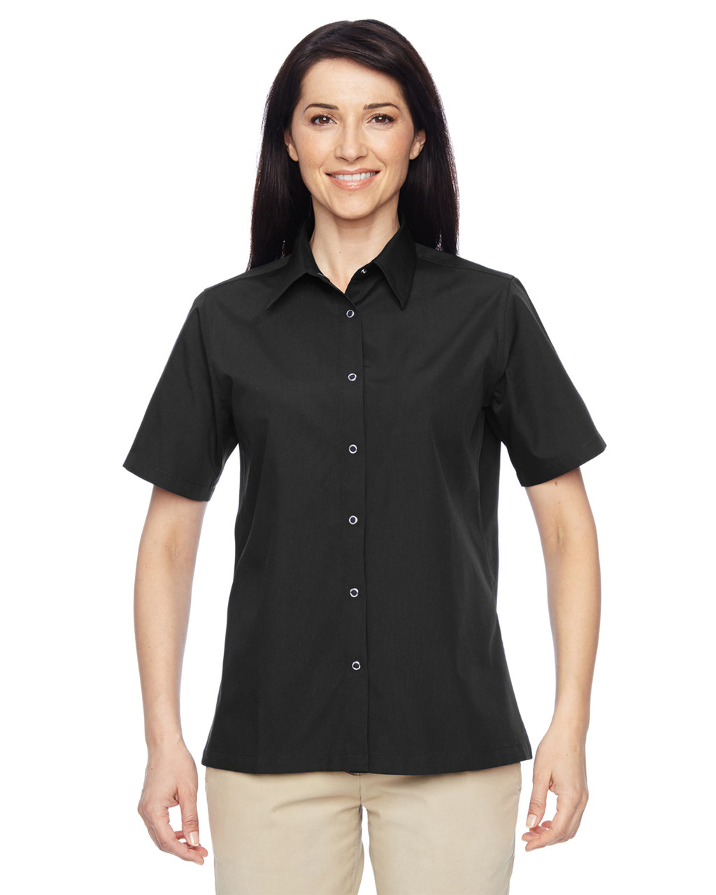 Black - M545W Harriton Ladies Advantage Snap Closure Short-Sleeve Shirt