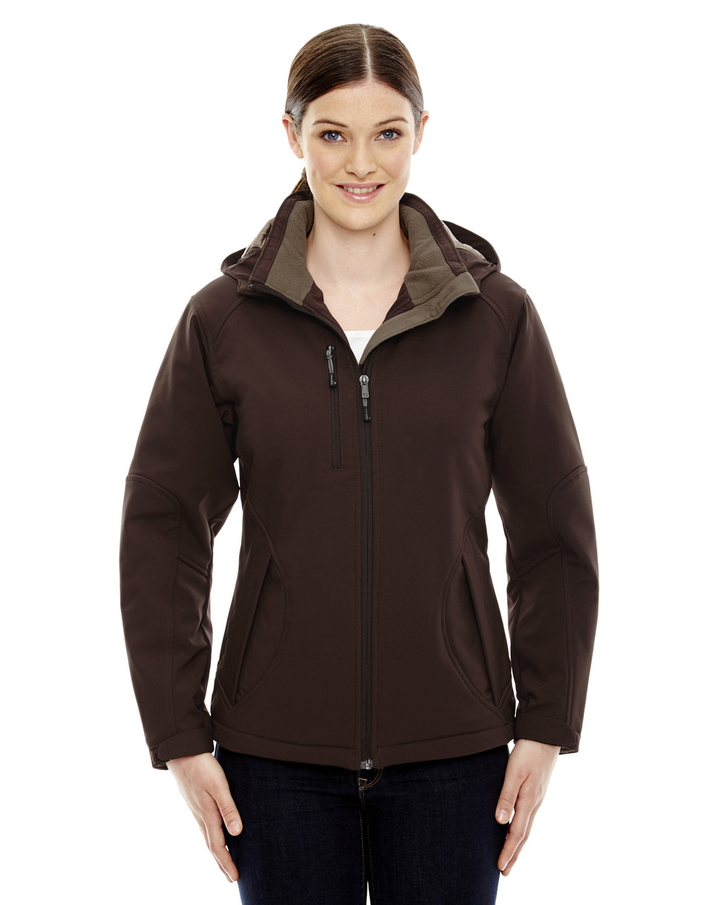 Dark Chocolate 78080 North End Ladies' Insulated Soft Shell Jacket With Detachable Hood | Blankclothing.ca