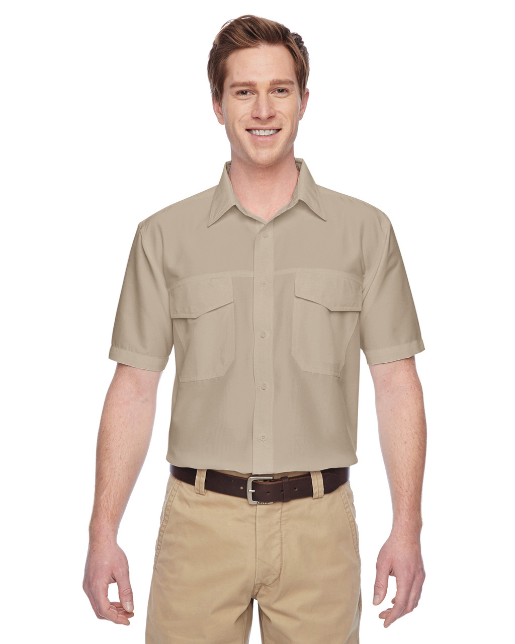 Khaki - M580 Harriton Men's Key West Short-Sleeve Performance Staff Shirt