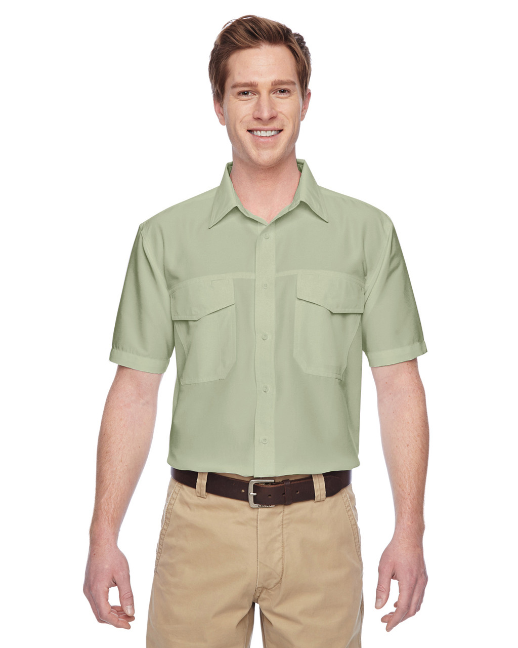 Green Mist - M580 Harriton Men's Key West Short-Sleeve Performance Staff Shirt