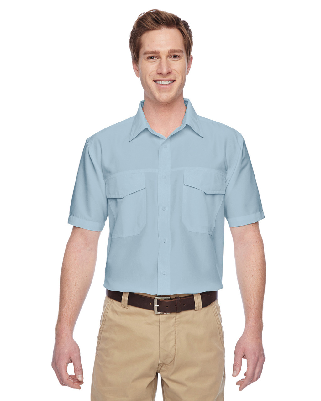 Cloud Blue - M580 Harriton Men's Key West Short-Sleeve Performance Staff Shirt