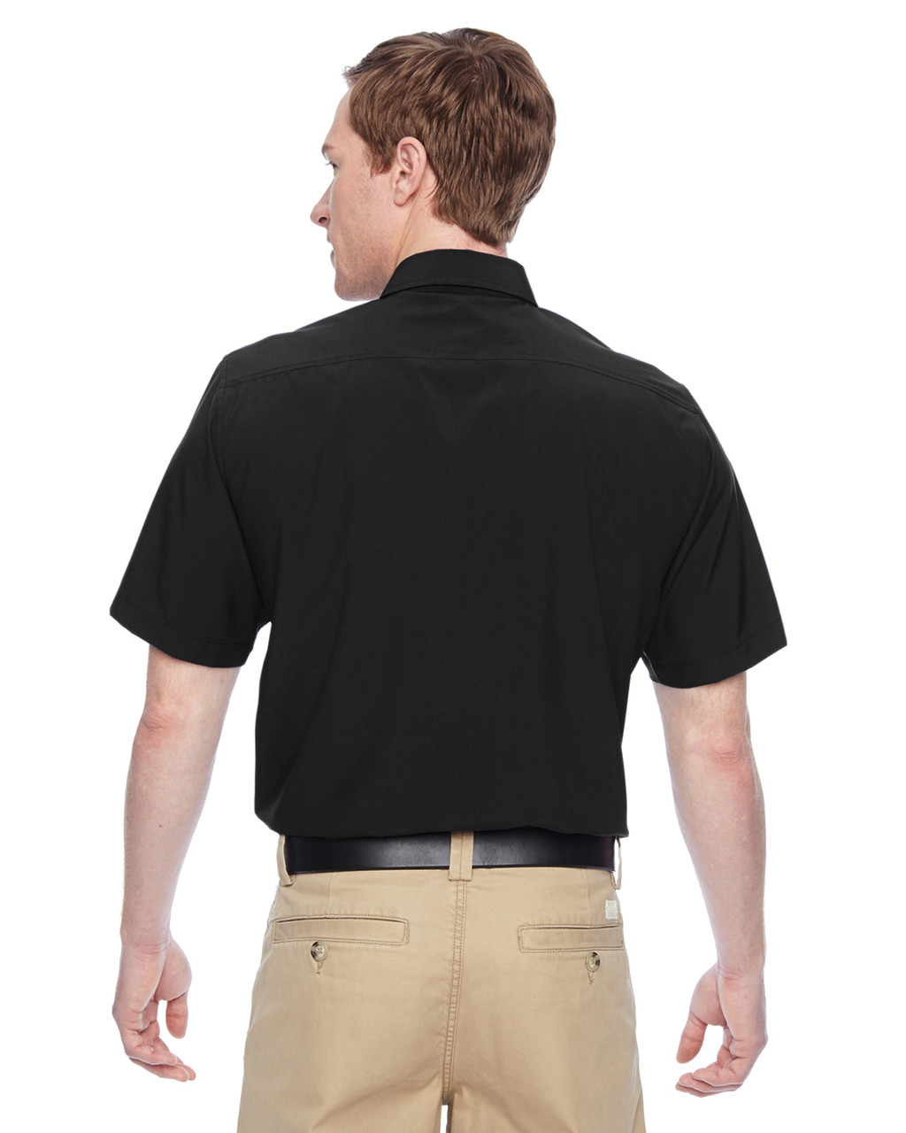 Black, Back - M610S Harriton Paradise Short-Sleeve Performance Shirt | BlankClothing.ca