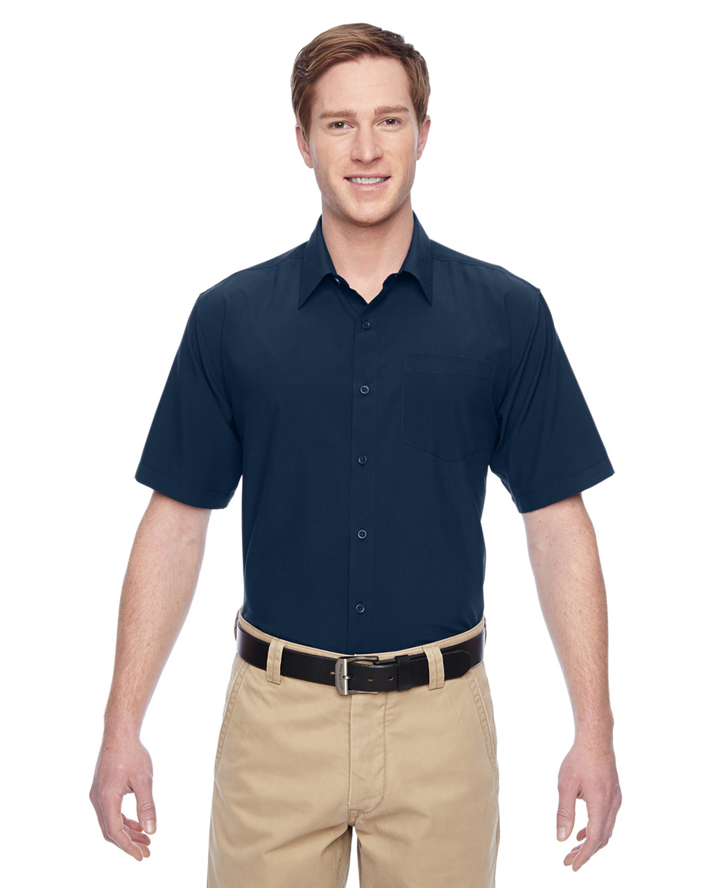 Navy - M610S Harriton Paradise Short-Sleeve Performance Shirt | BlankClothing.ca