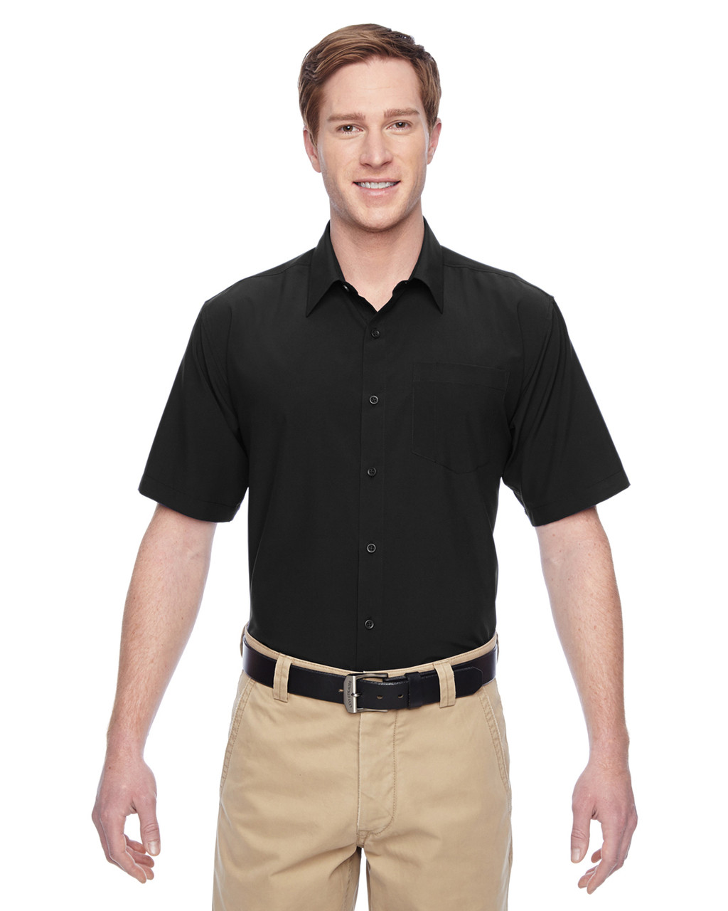 Black - M610S Harriton Paradise Short-Sleeve Performance Shirt | BlankClothing.ca