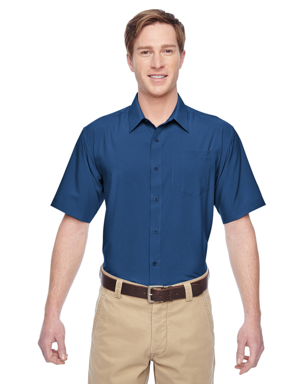 Pool Blue - M610S Harriton Paradise Short-Sleeve Performance Shirt | BlankClothing.ca