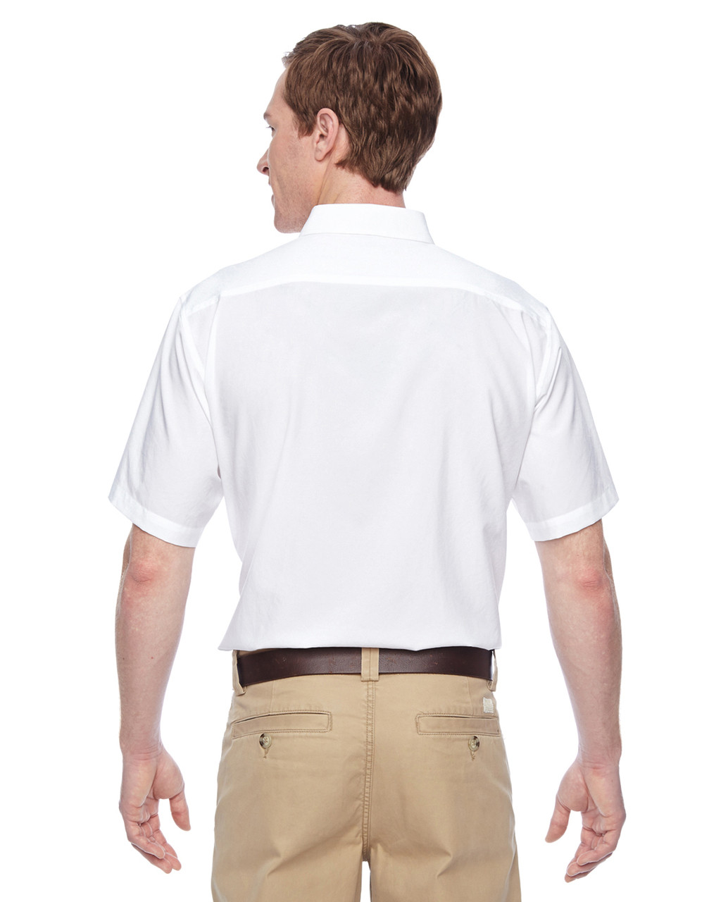 White, Back - M610S Harriton Paradise Short-Sleeve Performance Shirt | BlankClothing.ca