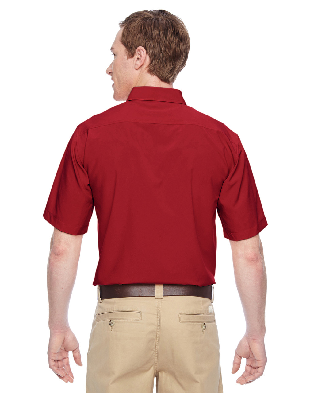 Parrot Red, Back - M610S Harriton Paradise Short-Sleeve Performance Shirt | BlankClothing.ca