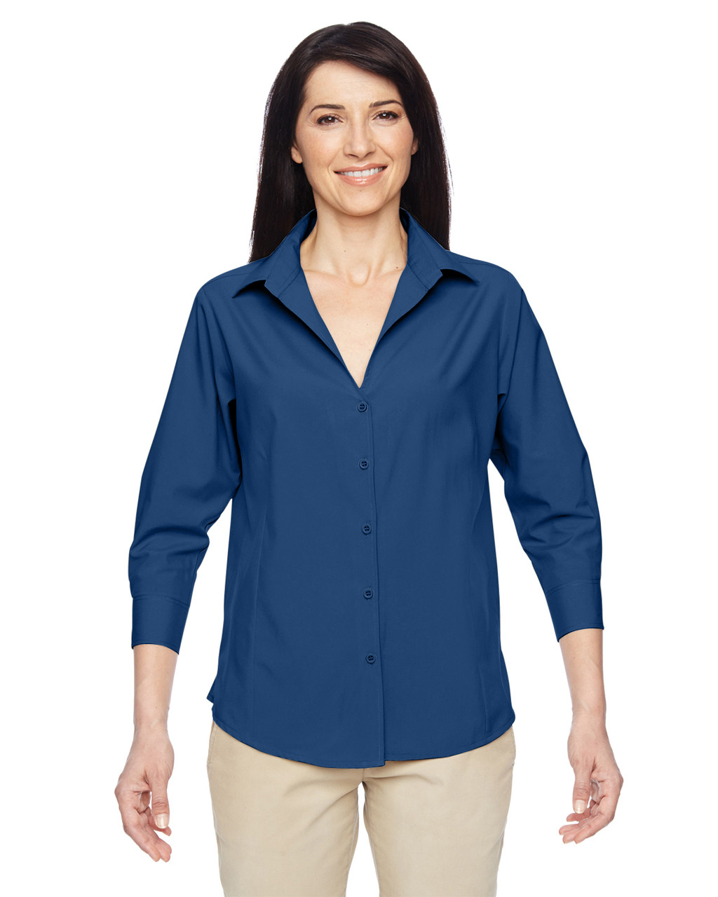 Pool Blue - M610W Harriton Ladies' Paradise Three-Quarter Sleeve Performance Shirt | BlankClothing.ca