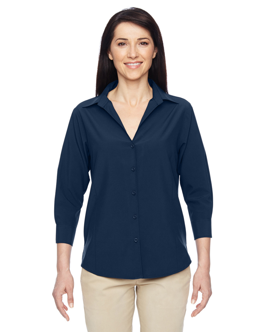 Navy - M610W Harriton Ladies' Paradise Three-Quarter Sleeve Performance Shirt | BlankClothing.ca