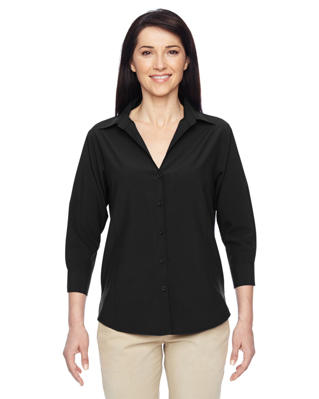 Black - M610W Harriton Ladies' Paradise Three-Quarter Sleeve Performance Shirt | BlankClothing.ca