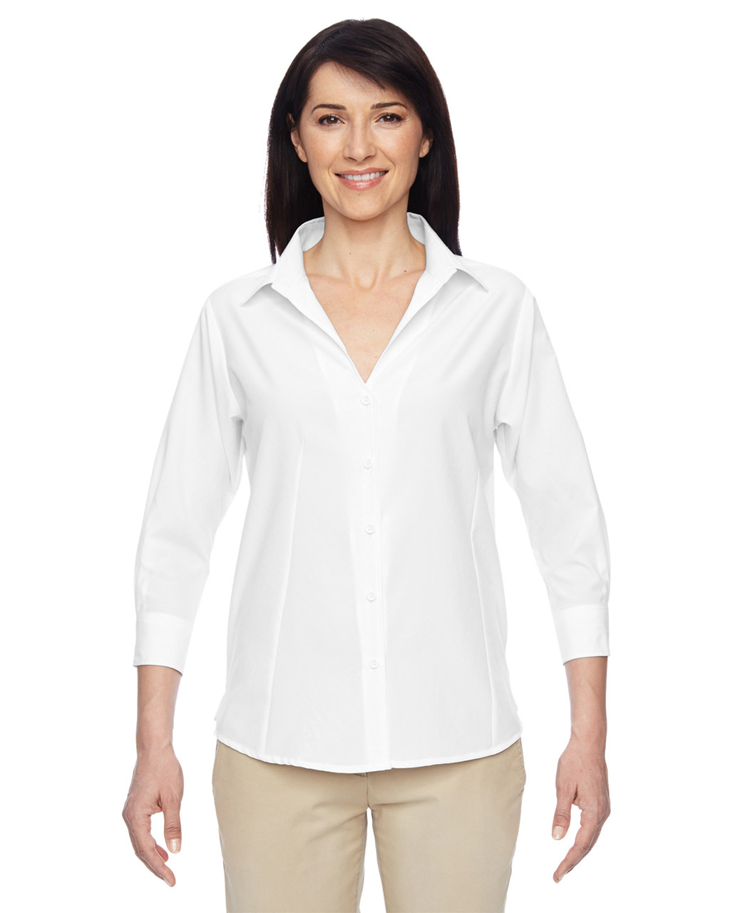 White - M610W Harriton Ladies' Paradise Three-Quarter Sleeve Performance Shirt | BlankClothing.ca