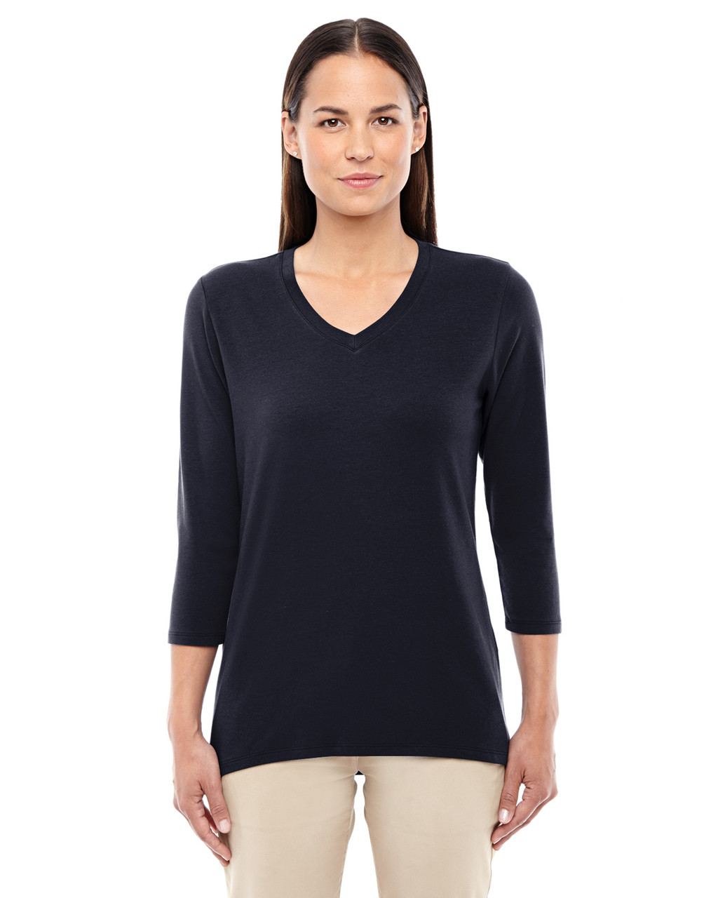 Black - DP184W Devon & Jones Ladies' Perfect Fit Bracelet Length V-Neck Top