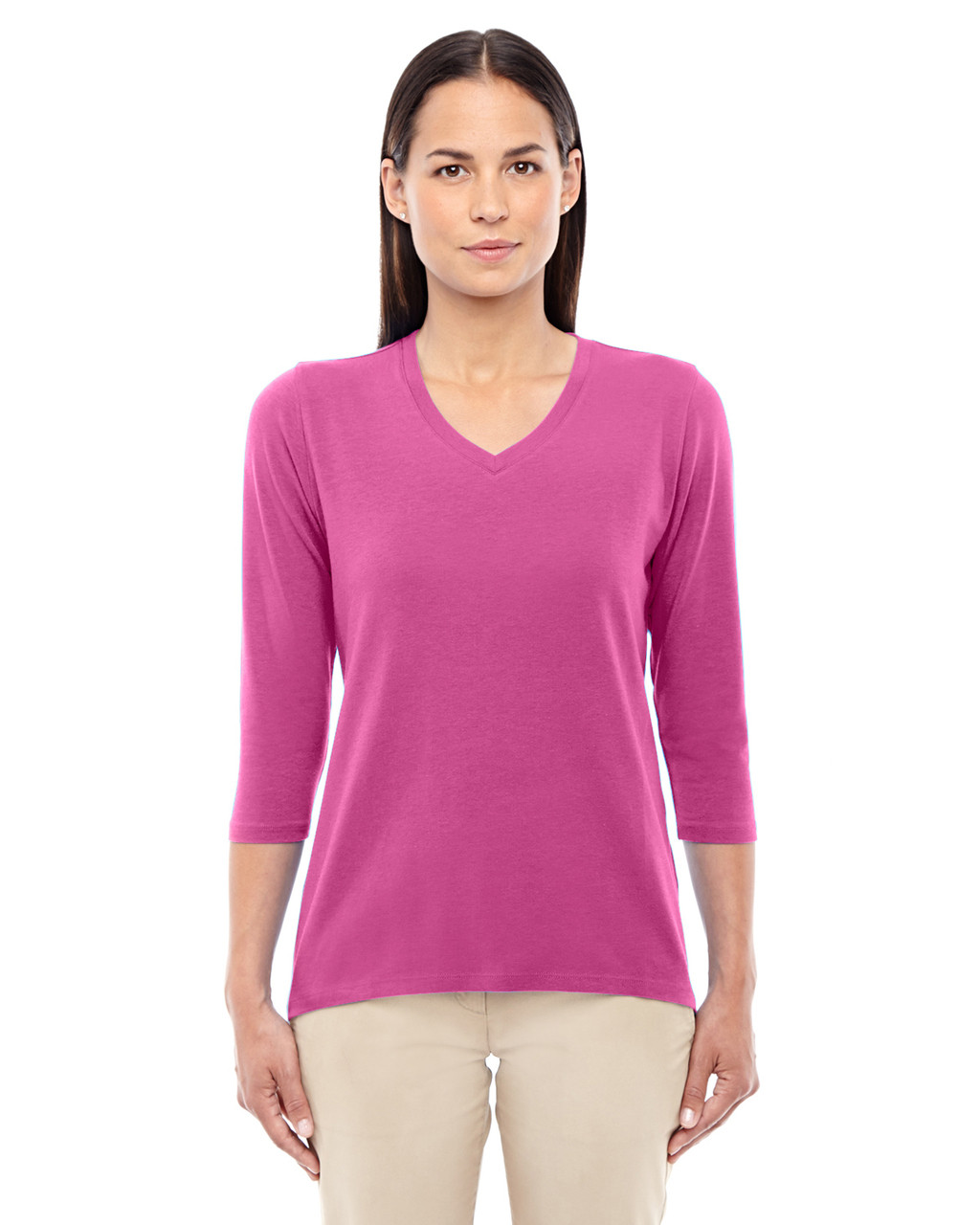Charity Pink - DP184W Devon & Jones Ladies' Perfect Fit Bracelet Length V-Neck Top