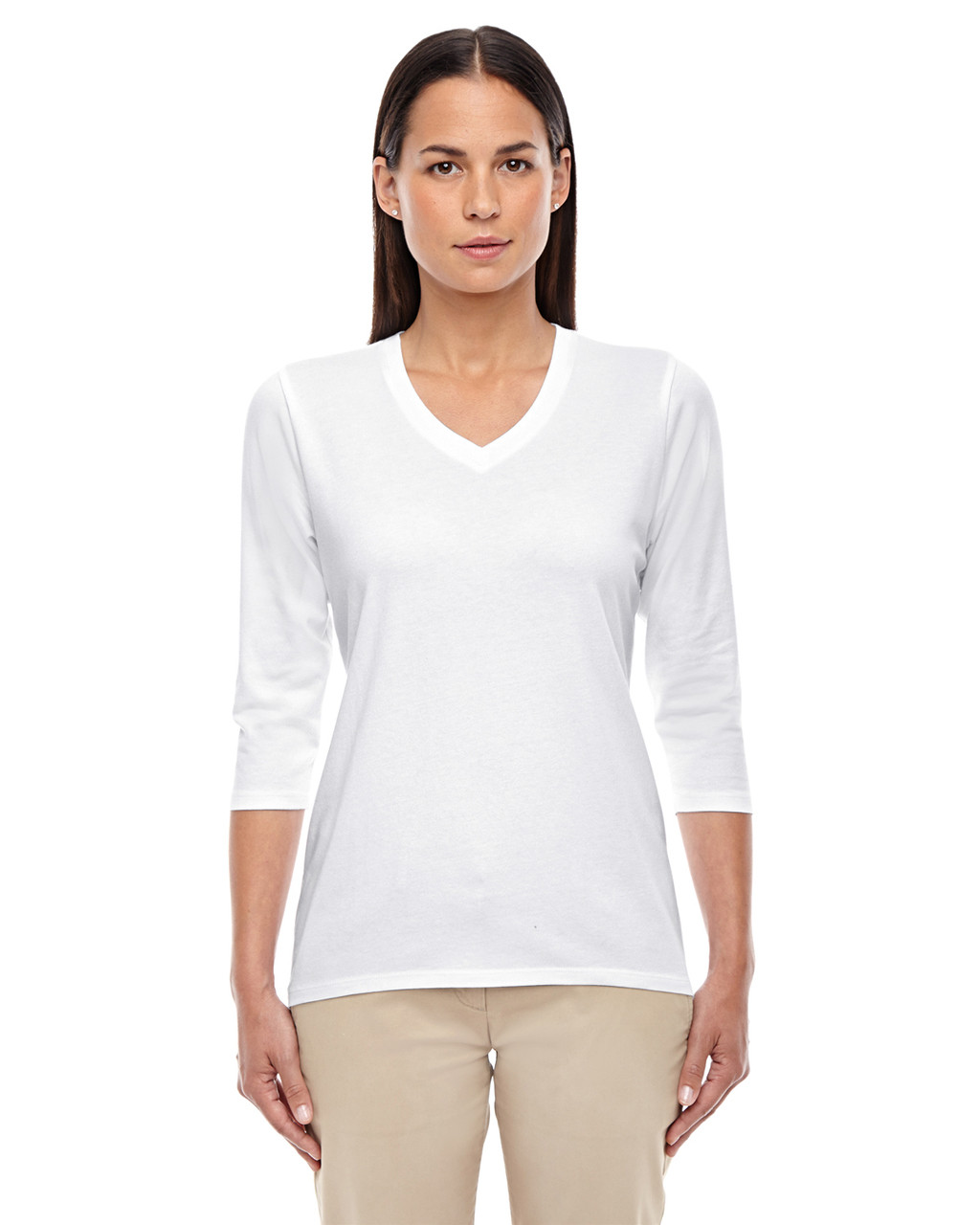 White - DP184W Devon & Jones Ladies' Perfect Fit Bracelet Length V-Neck Top