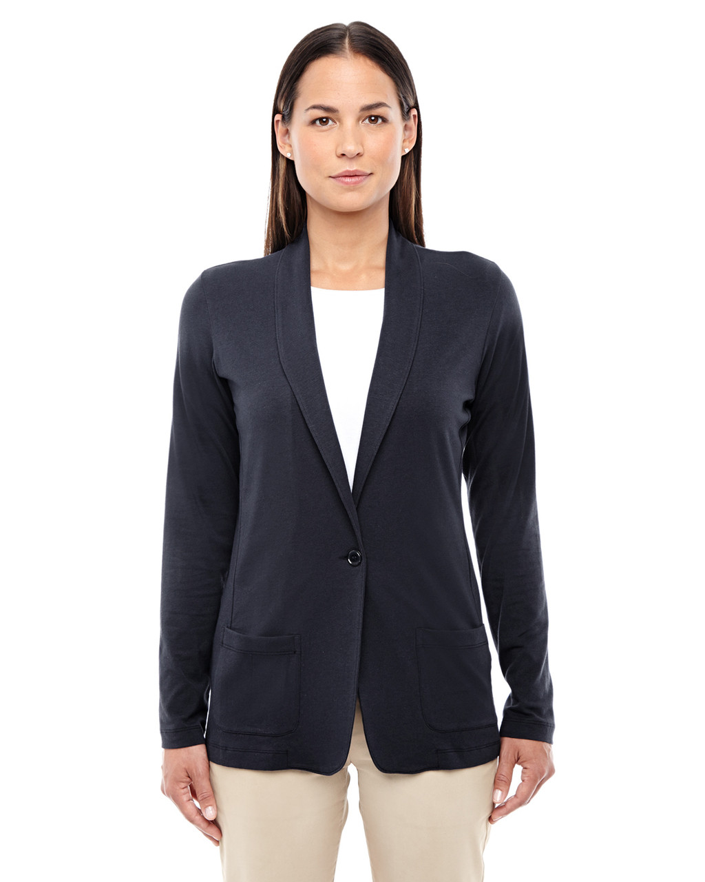 Black - DP462W Devon & Jones Ladies' Perfect Fit Shawl Collar Cardigan