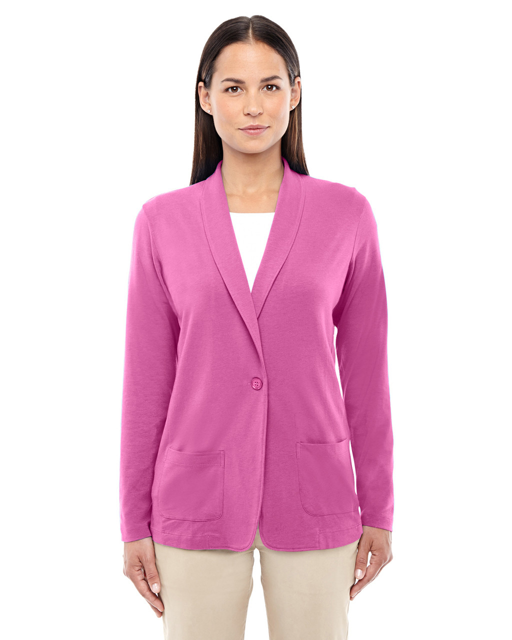 Charity Pink - DP462W Devon & Jones Ladies' Perfect Fit Shawl Collar Cardigan