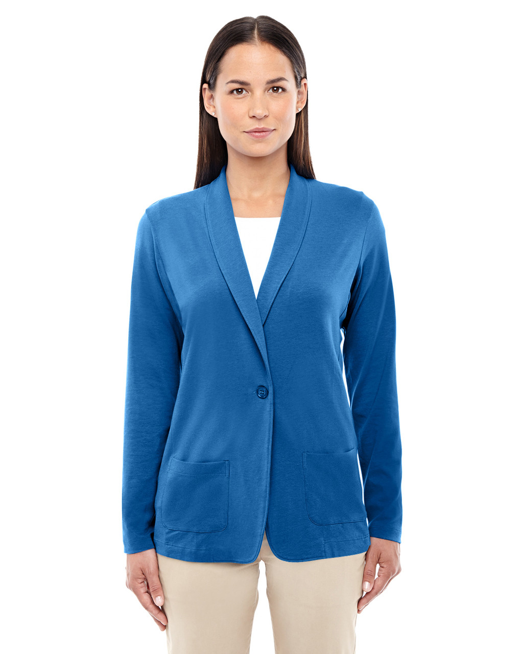French Blue - DP462W Devon & Jones Ladies' Perfect Fit Shawl Collar Cardigan